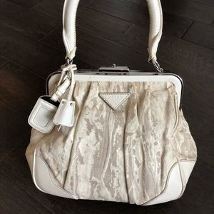 PRADA Frame Bag Distressed Canvas and Leather Auth